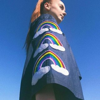 ZIZTAR triple rainbow blue short jacket