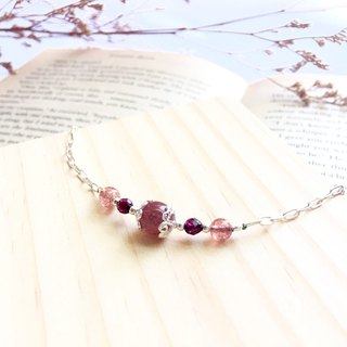Ops Strawberry crystal Garnet bracelet-草莓晶/純銀/桃花/石榴