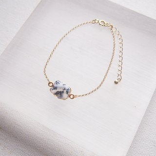 [ Little Cloud ] Dendritic Agate Bracelet | Silver with 18K Yellow Gold Plated