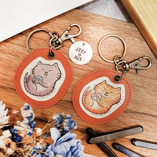 [Qiao hand cat x city cat] illustration leather - custom knocking key ring (hanging) cat orange cat
