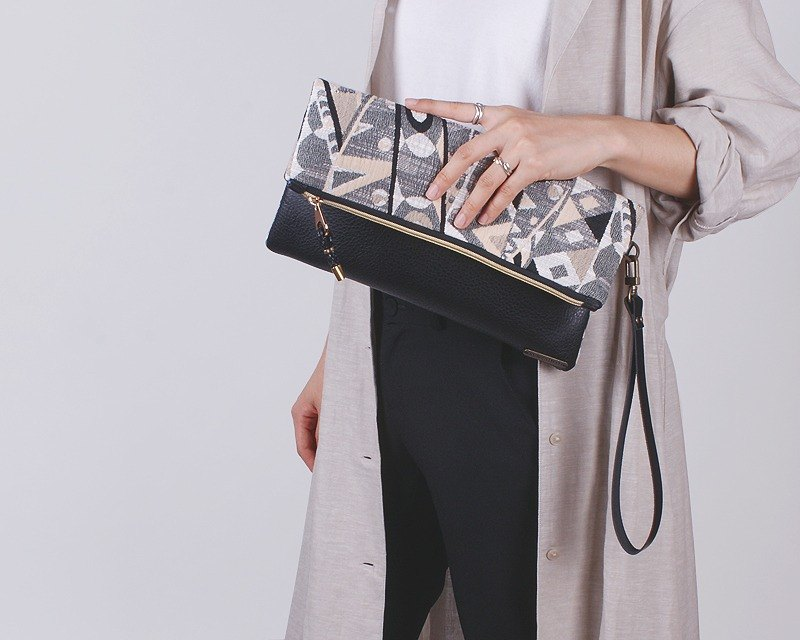 Symphony black fold over clutch