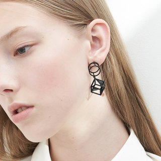 【String Art】3D Printed Geometrical Cube with Cylindrical Earrings