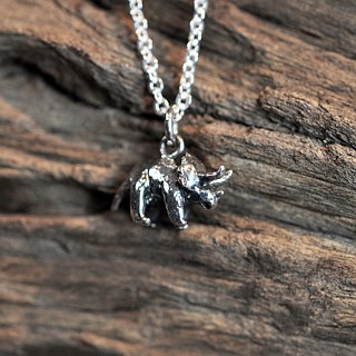 二毛银[Childhood Fun - Triceratops Solid Solid Silver Necklace]