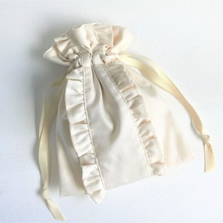 Straight Lined Double Frilled Drawstring Pouch