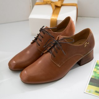 Hera-Caramel Brown - Handmade Leather Derby Shoes