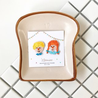 Littdlework embroidered earrings ear clip ear hook | little boys and girls series