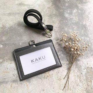 KAKU Leather Design ID Card Holder Document Holder Nylon Neckband Single Mezzanine Style Gray