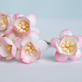 Paper flower, 50 pieces, size 2.5 cm. Cherry blossom, Sakura, pink brush soft of-white color.