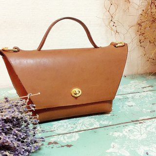 Dark brown leather handle bag