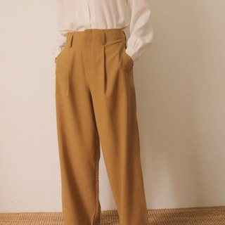 Ines Maxi Culottes - Summer Thin Wool Suit Cleated Pants