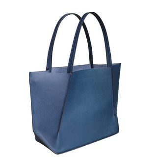 Canaly leather tote bag with zip /Navy blue