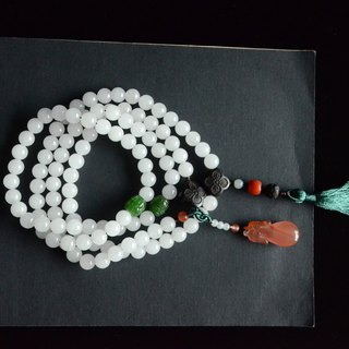 [Old remarks] natural Hetian white jade 108 beads necklace beads