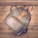[ 老骨頭 ] Nina Ricci 焦糖真皮x長頸鹿皮紋帆布 後背包 絕版真品 古董包 Vintage