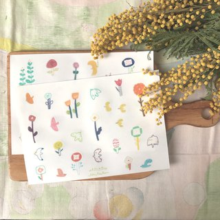 Spring flowers and birds - cut-type stickers