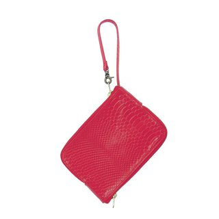 Double-sided zipper bag / Double Face / Natural cowhide / S / red / hand-limited