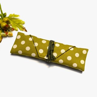 Mustard green with white polka dots Cutlery bag / Pen storage bag simple canvas