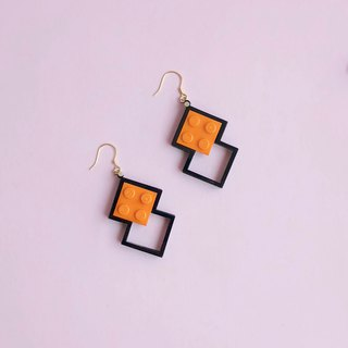 Lego Cutting Silver Earrings -  Orange