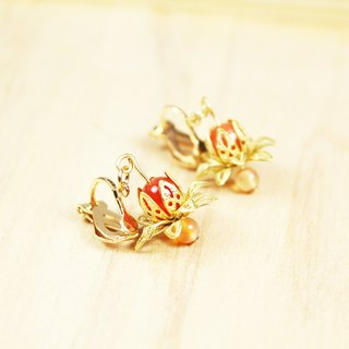 【Collection of gold lake】 Flame lotus earrings red mandarin paragraph | clip-on earrings earrings can be changed for pure silver needles | color agate | brass | natural stone earrings, Chinese ancient style jewelry E8