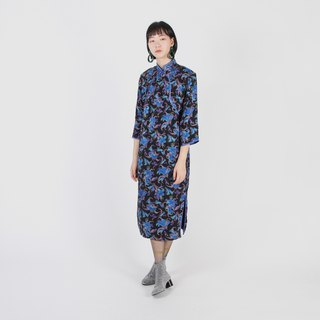 [Egg plant ancient] night to the cuckoo print improved vintage cheongsam