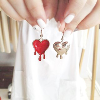 Melting Heart Earrings, Red Heart Earrings, Red Melting Heart Earrings, Double Sided Earrings