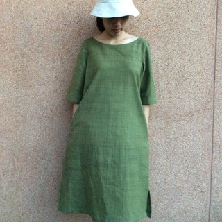 hand-woven cotton fabric with natural dyes dress(green) y8