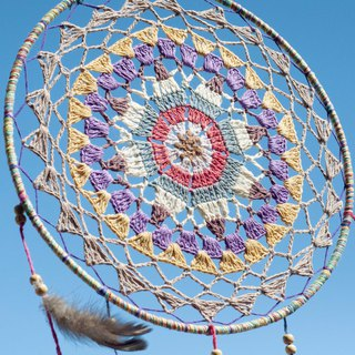 National style boho hand-woven cotton and linen rainbow dream catcher hanging dream Cather-lace fruit color