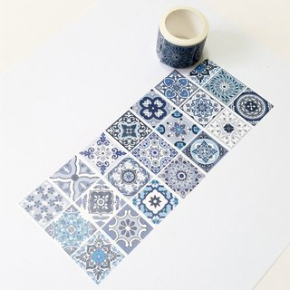 Jielin Washi Tape Blue Flower Tiles