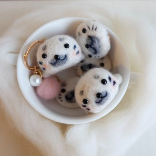 sleeping white glutinous rice dumpling [original handmade baby seals] pendant / key ring