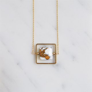 """KeepitPetite"" Around the World • • square brown white turquoise gold-plated necklace (45cm / 18 inches)"