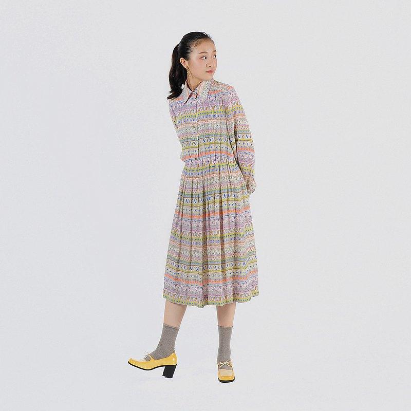 【蛋植物古着】粉彩圖繪印花百褶古著洋裝