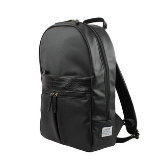 AMINAH-black right leather leather backpack [am-0309]
