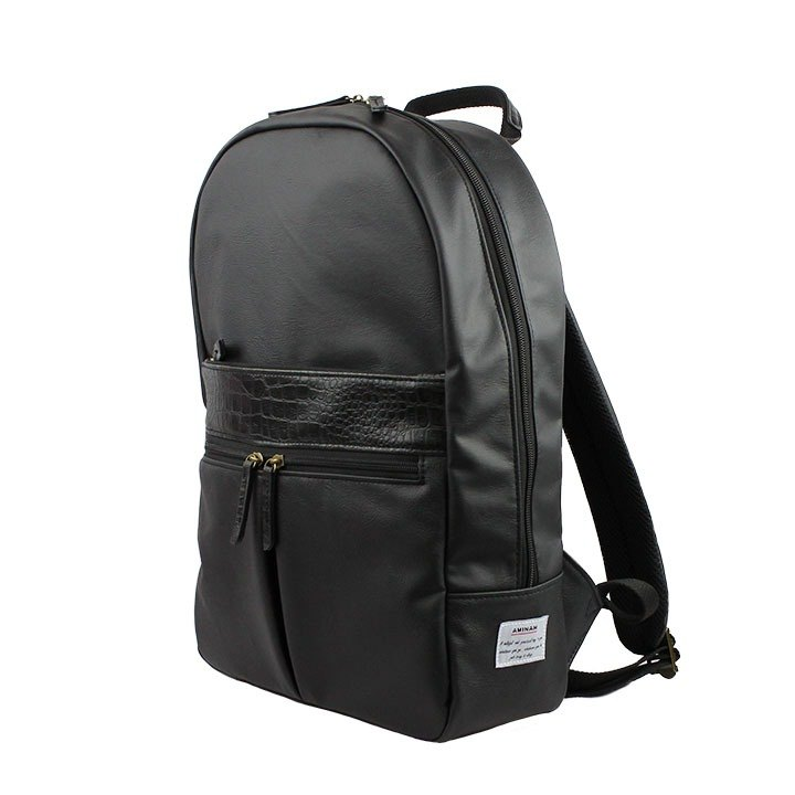 AMINAH-黑色正氣皮革後背包【am-0309】