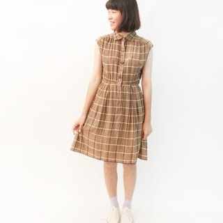 Retro Simple Earth Color Check Plaid Sleeveless Vintage Dress Vintage Dress
