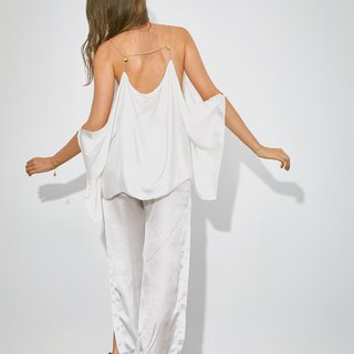 Try beachwear seashells chain short tunic in white