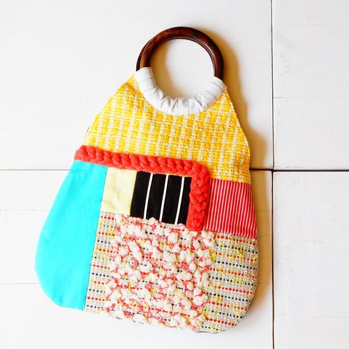 2 WAY. Tweed patchwork BAG. yellow