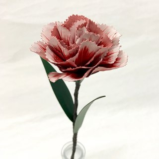 Frozen Pink Leather Carnation with Red inside