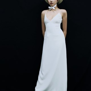 Love Philosophy bridal simple wedding dress - low-cut sling back waist can be tied with a long skirt