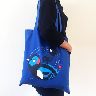 Wind Up Bird Tote-Bag (Blue)