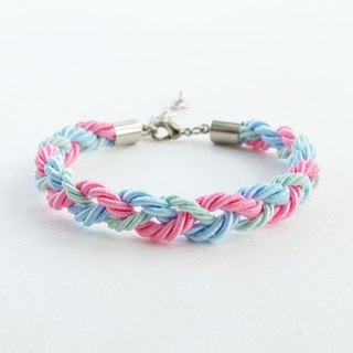 Mint/Blu/Pink braided bracelet