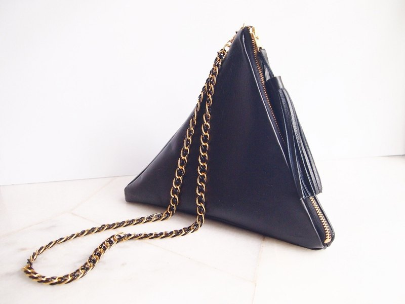 Black Geometric Leather Triangle Bag with Tassel and Metal Chain Strap
