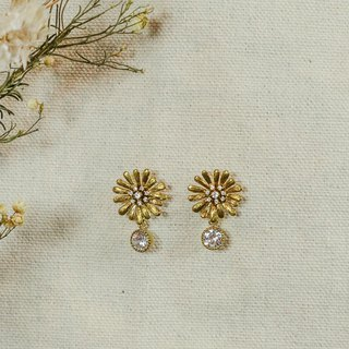Round 氐 Silent Love Sunflower Dangle Round Zircon Earrings