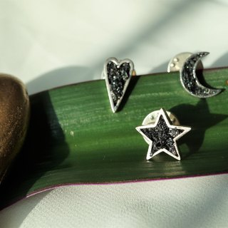 Crushed Hematite Moon Star Heart Pin