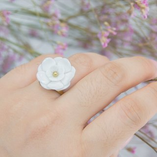 Plum ~ white porcelain flower ring ~ size S