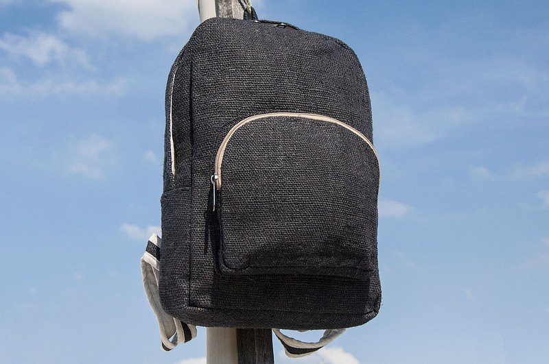 Cotton and linen stitching design backpack/shoulder bag/national mountaineering bag/patchwork bag/computer bag-Japan black