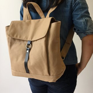 Travel Canvas Backpack with leather strap laptop school -no.102 TANYA in Camel