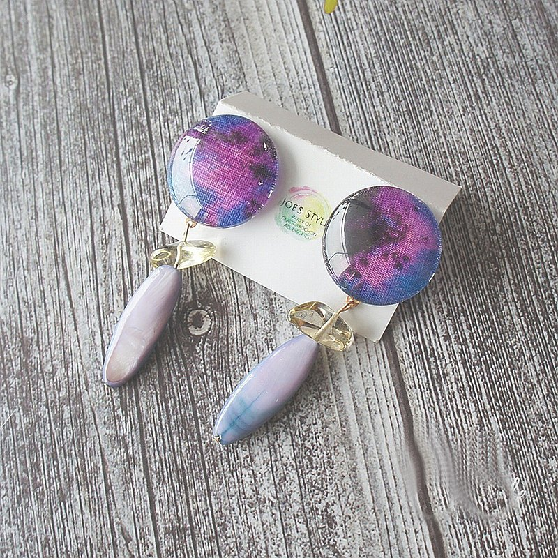 Glass Cabochon Accessories Clip Earrings in Purple Fabric and Shell, Lemon Quartz