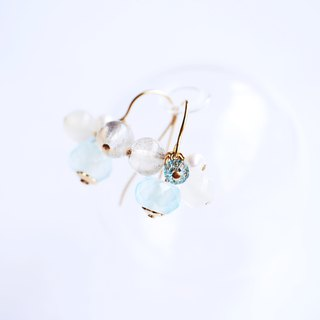 Fruit Little String Natural Labradorite Pearl Earrings 14K GF Cute
