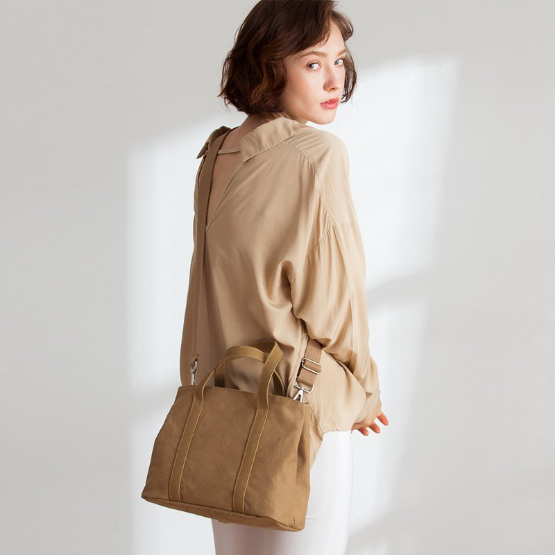 Nora canvas 2way handbag + 3 inner pocket [khaki brown]