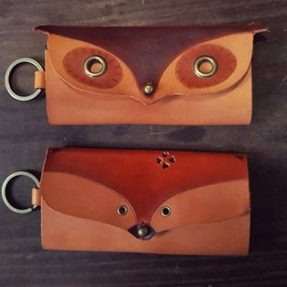 Owl / fox retro yellow pure leather six hole key case