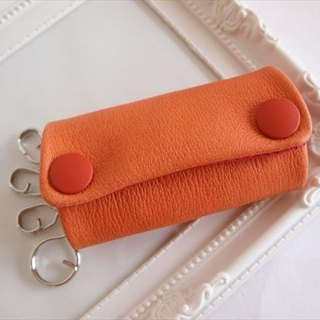 [Orange × red] pig leather soft key case [MTO] Leather 1616002